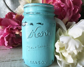 Vintage Kerr Pint Mason Jar Antique Shabby Home Decor Painted Distressed