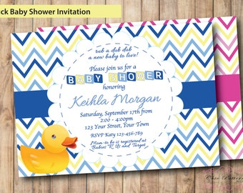 Rubber Duck Baby Shower Invitation, Rubber Ducky Baby Shower, Rubber Duckie, Rubber Duck Invitation, Rubber Duck Invite, Blue or Pink