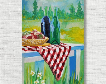 Picnic Painting Print Canvas Art from Still Life Fine Art Canvas Painting -  Art Print