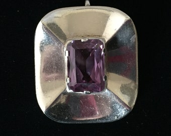 Stunning Taxco Talleres Los Ballesteros 925 Mexican silver and syn Alexandrite brooch/pendant June birthstone