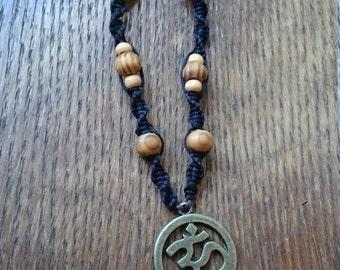 Macrame necklace OM sign