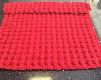 Soft bobble baby blanket. Scarlett red. Extra width.