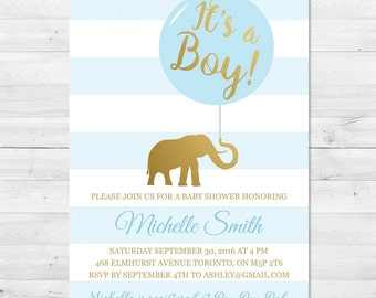 Baby Shower Invitation Boy, Blue And Gold Baby Shower Invitation, Elephant Baby Shower Invitation, Gold, Blue, Boy Baby Shower Invitation