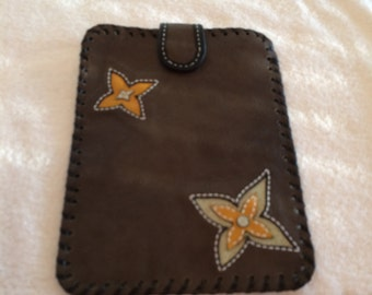 Handcrafted brown textured leather mini-tablet case