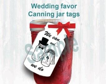 Mason jar, Wedding favor tags. printable download, Canning