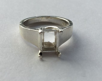Sterling Silver Ladies Octagon Comfort Fit Ring Setting Size 7 (8x6-12x10mm) #163 252