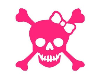 Girly Bow Skull with Crossbones Vinyl Decal