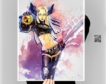 MAGIK cartoon, Woman Superhero, Xmen, Marvel comics, Rasputina, Detail A2, Magik poster, Magic printable, by janoveltymovie