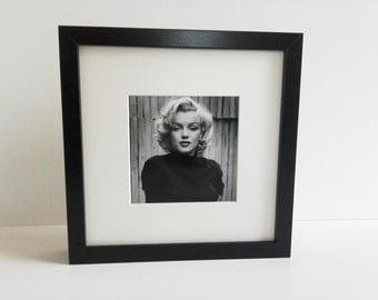 Marilyn Monroe black and white square framed portrait print 25cm x 25cm