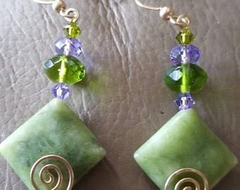 Jade and Crystal Earrings! REDUCED!!