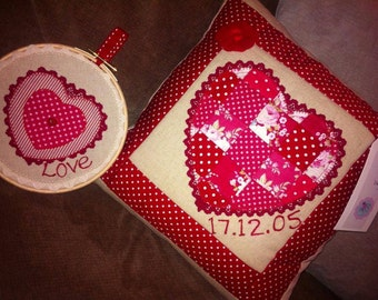 Patchwork and Lace Heart Cushion