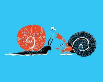 Art - Art Print print: Bernard dislikes snails - Bernard hates snails