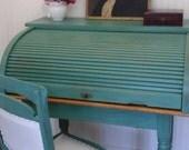 Roll Top Desk - Rolltop Desk - Green Desk - Distressed Desk - Farmhouse Desk - LOCAL PICKUP only - Albany, NY - Hudson Valley