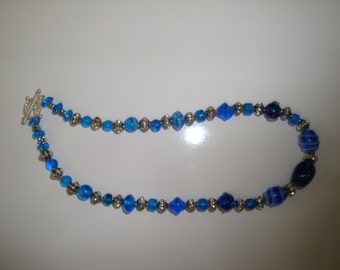 Choker Necklace with Blue Glass and Silver-plated Spacer Beads