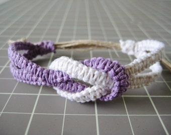 Infinity Hemp Bracelet - Violet Purple & White - Natural and Adjustable