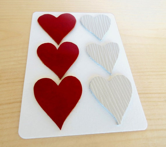 Leather heart shapes red leather craft supplies set of 6 for Leather shapes for crafts