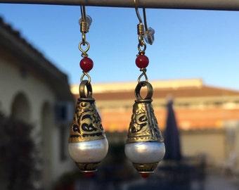 Mother of Pearl Tibetan Drop Earrings