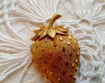Strawberry brooch costume jewelry