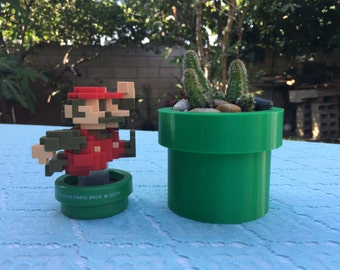 Mario Pipe Planter, 3D Printed, Warp Pipe, Super Mario Brothers