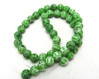 1 Strand 8mm Round Millefiori Glass Beads Green (B41g1)