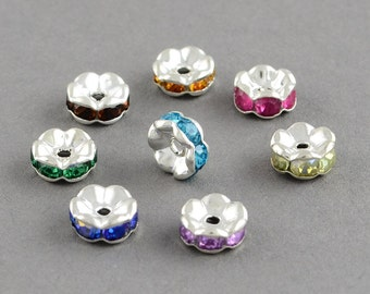 50 Silver Plated 8mm Wavy Rhinestone Spacer Beads Assorted Colors (B2)