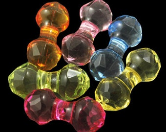 50 Assorted Colors Acrylic Bone Beads (B106b)
