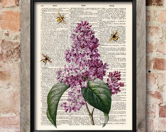 Bees Lilac flower print, Dictionary art print, Old book pages, Kitchen decor, Dining room decor, Bees Wall Decor, New home gift [ART 127]