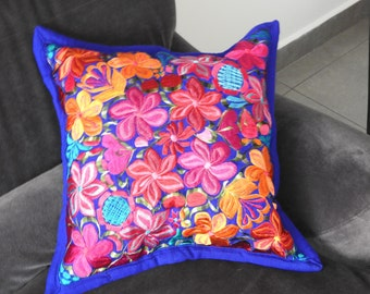 Embroidered pillow cover Electric blue
