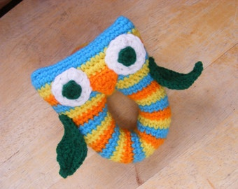 Crochet Owl Rattle Colorful Owl Rattle Baby Rattle Toddler Rattle Stuffed Owl Rattle Bright Owl Rattle Multi-color Owl Rattle Toy