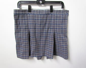 Authentic School Girl Blue Plaid Skirt