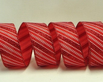 Wired Christmas Ribbon ~ 1-1/2 inch Red and White Striped Ribbon ~ Candy Cane Ribbon ~ 5 Yards