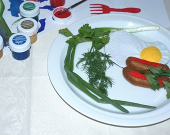 Fried eggs, toy from felt, sausages from felt, a decor for kitchen