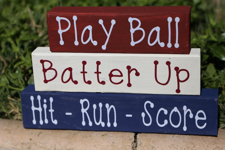 Baseball Wood Blocks Play Ball Batter Up Hit Run Score
