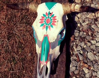 Hand painted steer skull
