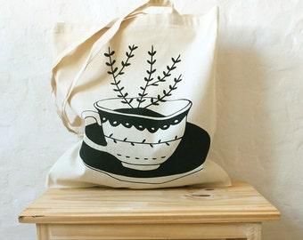 Screen printed cotton tote bag