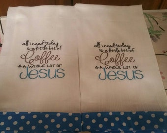 Teal  and white flour sack towels.