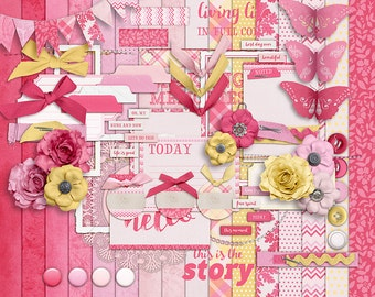 In the Pink - Digital Scrapbooking Kit - 16 Paper - 60 Plus Elements - Paper Size - 12 x 12 Inches - Digital