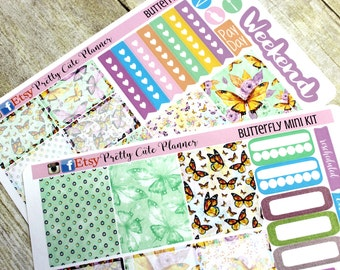 Happy Planner Stickers - Weekly Planner Sticker Set - Erin Condren Life Planner - Day Designer- Functional stickers Butterfly Kit