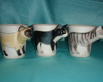 Three different cats in ceramic mug. Handmade painting. Dishwasher and microwave safe