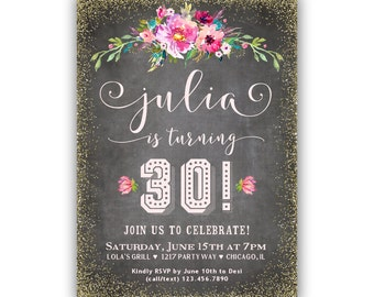30th Birthday Invite - Printable Adult Birthday Invitation - 30th Birthday Invitation Female - 30th Birthday Invitation for Her / Printable