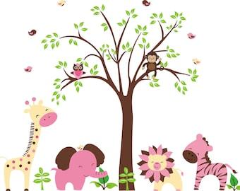 "Girls Nursery Decals - Pink Themed Decals - Safari Nursery Decor - Wall Decals Nursery - Pink Animal Decals - Nursery Wall Art - 48"" x 84"""