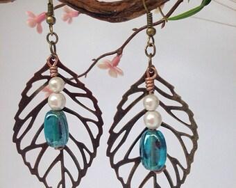 Blue Bead Leaf Earrings