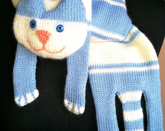 Handmade funny warm cat-scarf. Blue and white