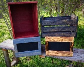 Wood Box Crate, Handmade, Wood Chalkboard Crate, Rustic, Wedding Decor, Toy Storage, Organize, Storage, Country, Farmhouse, Wood Storage Box