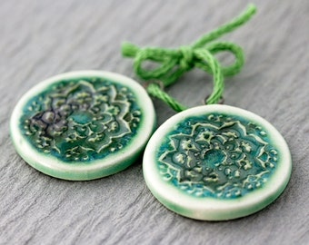 Round mandala porcelain pendants|Copper wash and clear glaze