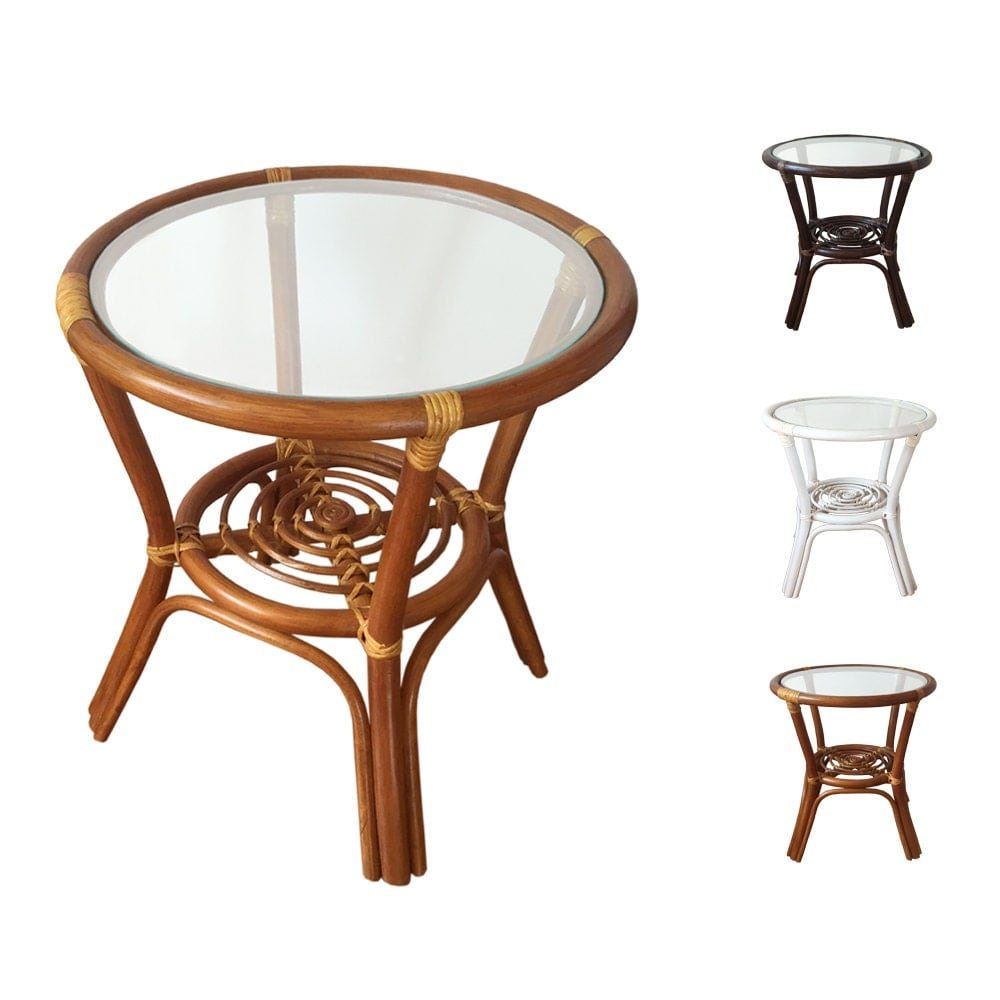 Rattan Coffee Table Etsy: Rattan Round Coffee End Table Model Diana With Glass Top Color