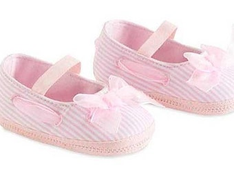 Baby Girls Pink Striped Maryjane Shoes