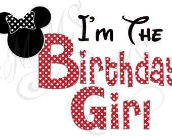Birthday Girl Minnie Mickey Mouse Mom Birthday Girl Shirt DIY Iron On Digital Art Little Sister Matching Red Black Dot Birthday Pregnancy