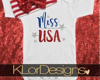 Miss USA Onesie,  4th of July onesie, Patriotic onesie, Baby Girl onesie, USA onesie
