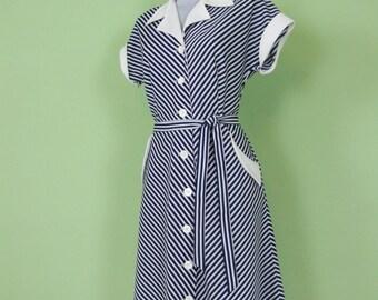 striped 70s dress #blue&white # size M-L #vintage
